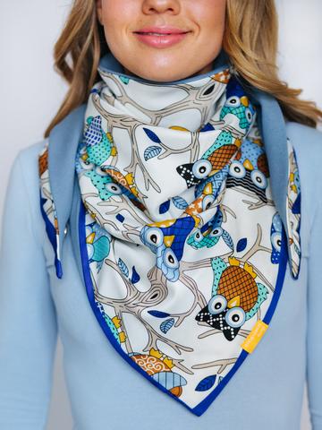 Косынка из шелка с хлопком голубая с синим с совами