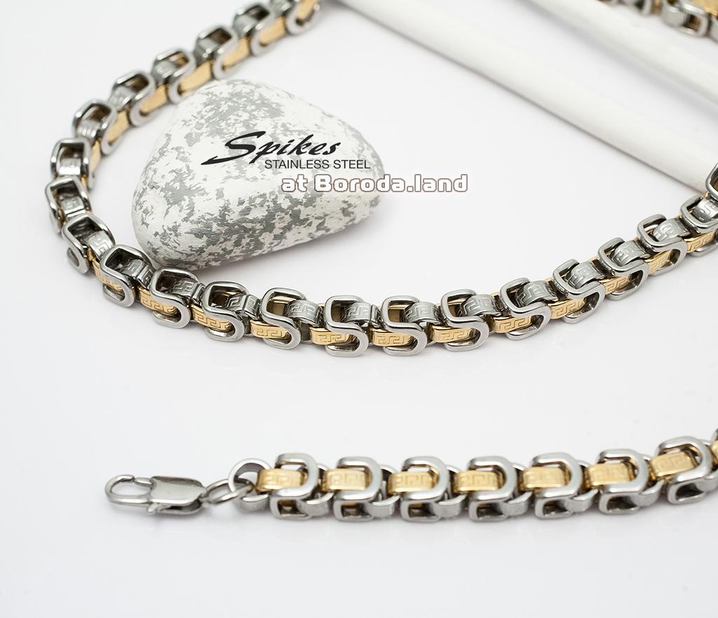SSNM-1365 Крупная мужская цепь «Spikes» из ювелирной стали (62 см) фото 03