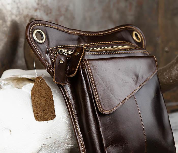 BAG442-2 Набедренная кожаная сумка коричневого цвета фото 03
