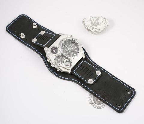 WLS145 Стильный браслет из натуральной кожи с цветной строчкой