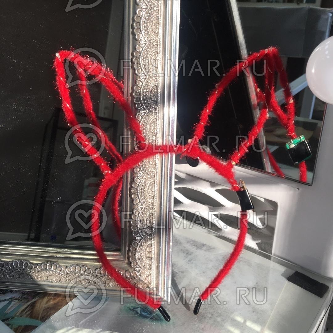 Ободок Заяц светящийся новогодний карнавальный на голову Красный