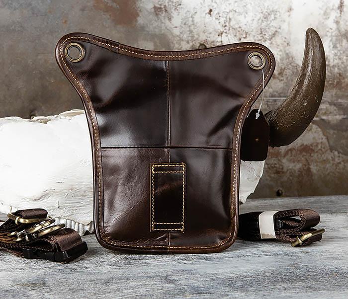 BAG442-2 Набедренная кожаная сумка коричневого цвета фото 04