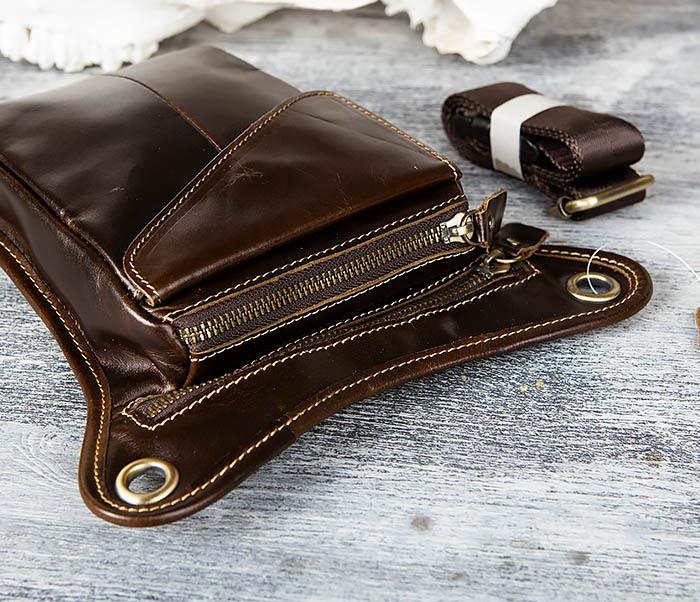 BAG442-2 Набедренная кожаная сумка коричневого цвета фото 05