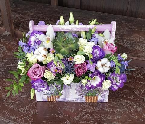 Ящик с цветами Лаванда 2