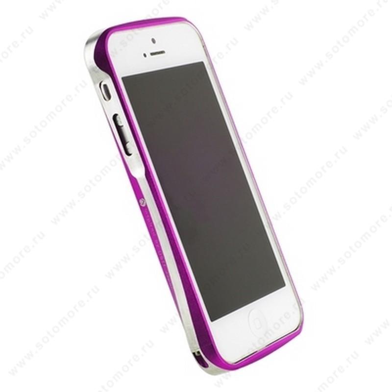 Бампер Deff CLEAVE алюминиевый для iPhone SE/ 5s/ 5C/ 5 A6061 ярко-розовый