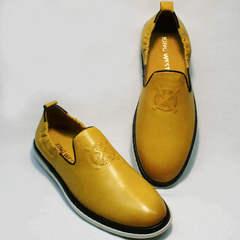 Удобные туфли слипоны мужские King West 053-1022 Yellow-White.