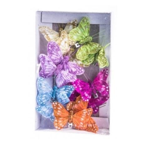 Набор бабочек с глиттером на прищепках из 12 штук, размер: 5 см