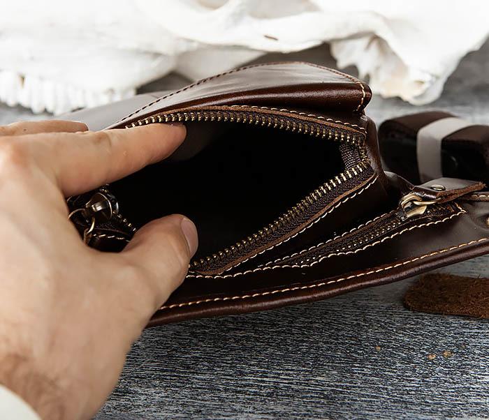 BAG442-2 Набедренная кожаная сумка коричневого цвета фото 07