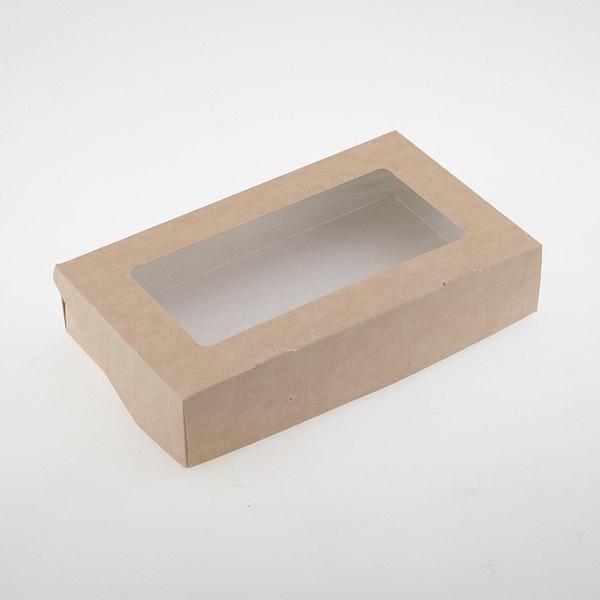 Коробка ЭКО-крафт с окошком 20х12х4 см