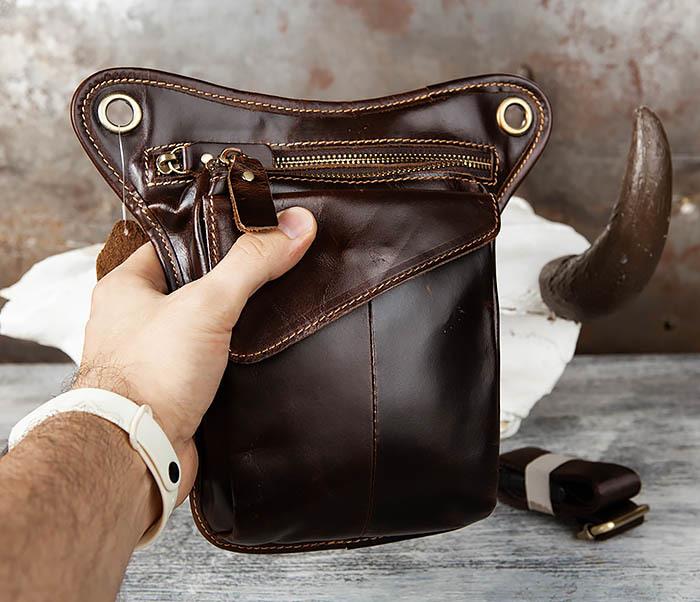BAG442-2 Набедренная кожаная сумка коричневого цвета фото 09