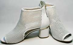 Белые женские босоножки на среднем каблуке Magnolya 3503 56-3 SummerWhite