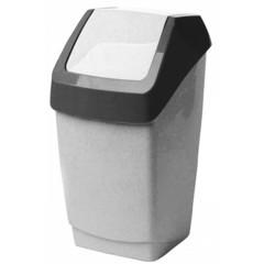 Ведро мусорное 15 л, пластиковое, с крышкой-вертушкой, мрамор