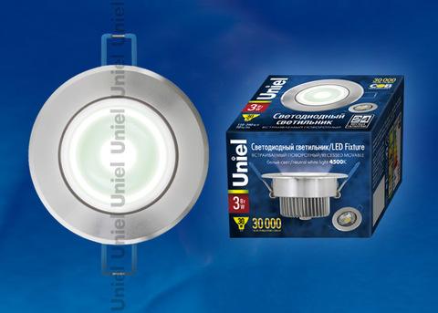 ULM-R31-3W/NW IP20 Silver картон Светильник светодиодный встраиваемый поворотный, 110-240В. Материал корпуса алюминий, цвет блестящее серебро. Белый свет.
