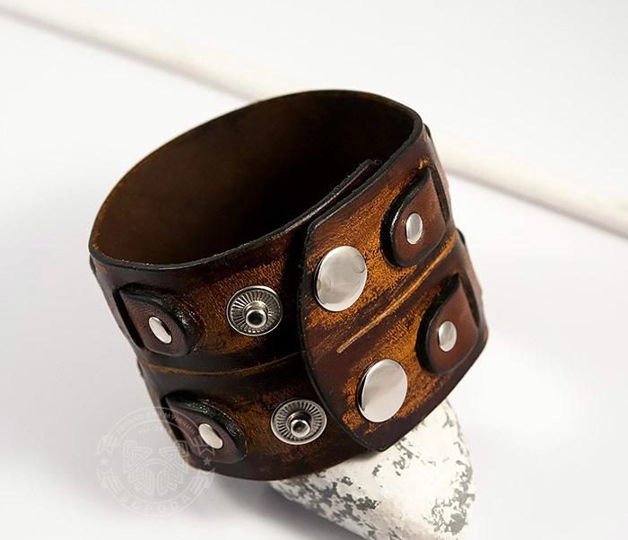 BL447-2 Широкий мужской браслет напульсник из натуральной кожи фото 06