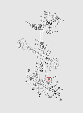 Демпфер левый  для лодочного мотора T15, OTH 9,9 SEA-PRO (14-23)