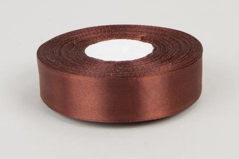 Лента атласная (размер 25 мм х 30 м) Цвет: коричневая