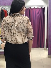 Блузка Largo рубашка шифон мрамор 3/4 (В20)