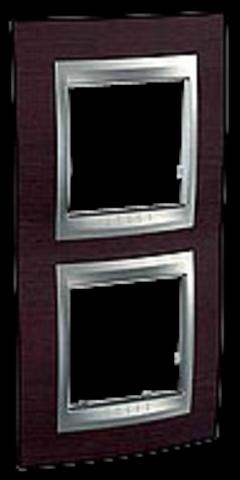Рамка на 2 поста, вертикальная. Цвет Венге-алюминий. Schneider electric Unica Top. MGU66.004V.0M3
