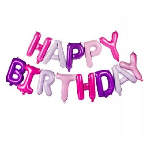 Растяжка из шаров: Буквы из фольги - С днем Рождения, Happy Birthday, розовый, сиреневый
