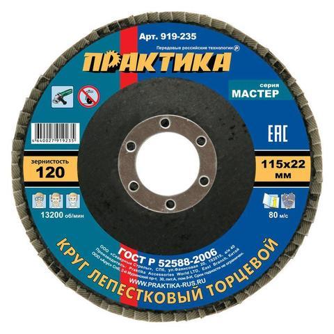 Круг лепестковый шлифовальный ПРАКТИКА 115 х 22 мм Р 120 (1шт.) , серия Мастер (919-235)