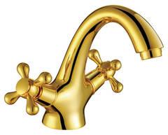Смеситель для раковины Kaiser (Кайзер) Carlson Style 44311-3 Gold двухвентильный, цвет - золото