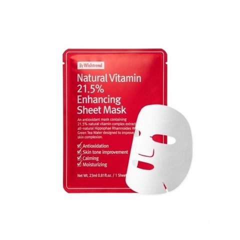 By Wishtrend Natural Vitamin 21.5 Enhancing Sheet Mask Витаминная тканевая маска для лица 23мл