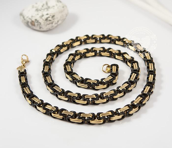 PM183 Оригинальная цепь из стали со звеньями черного и золотого цветов (60 см) фото 02