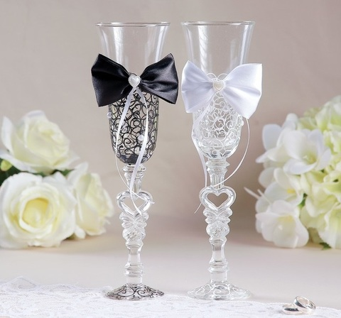 Набор свадебных бокалов «Бант», чёрно-белый
