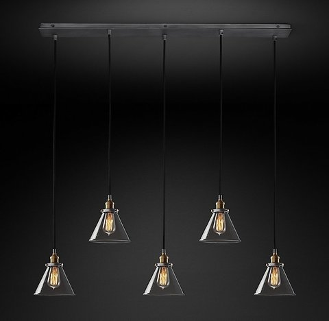 Подвесной светильник копия 20th C. Factory Filament Clear Glass Funnel Rectangular Pendant by Restoration Hardware