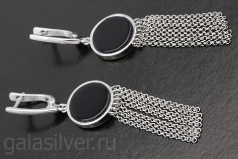 Серьги с ониксом из серебра 925
