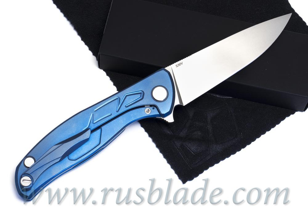 "Shirogorov Flipper 95 S30V ""Skrepka"" Blue Anod"