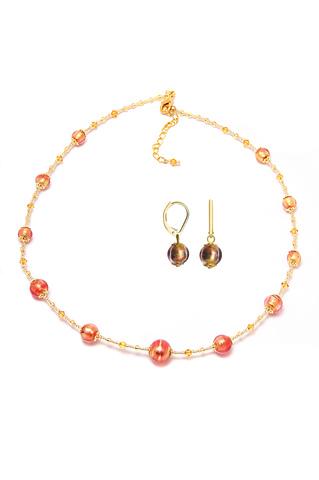 Серьги и ожерелье Примавера золотисто-розовые