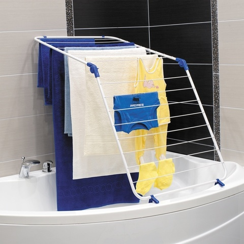 Сушилка для белья на ванну противоскользящая, многофункциональная А-образной формы