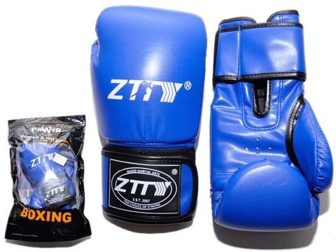Перчатки боксёрские 10 oz: ZTQ004 Цвет - синий.