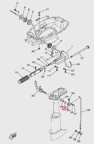 Резин. кольцо ручки перекл.передач  для лодочного мотора T5 Sea-PRO (9-26)