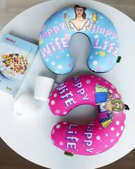 Подушка-подголовник «Happy Wife», розовая 4