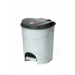 Ведро мусорное с педалью 19л пластиковое, мрамор