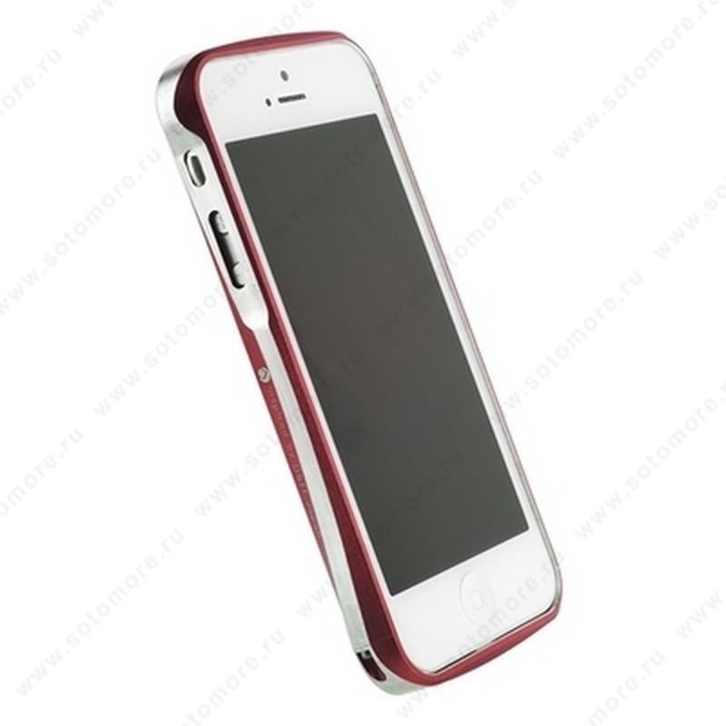 Бампер Deff CLEAVE алюминиевый для iPhone SE/ 5s/ 5C/ 5 A6061 красный