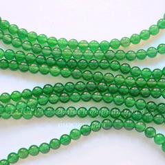 Бусина Агат (тониров), шарик, цвет - зеленый, 6 мм, нить