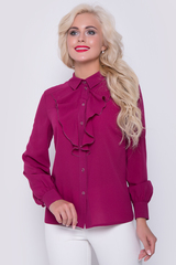 """Быть стильной в офисе - легко !!! Элегантная, женственная блузка с длинным рукавом на манжете. По переду планка на пуговицах  с модной отделкой """"жабо""""."""