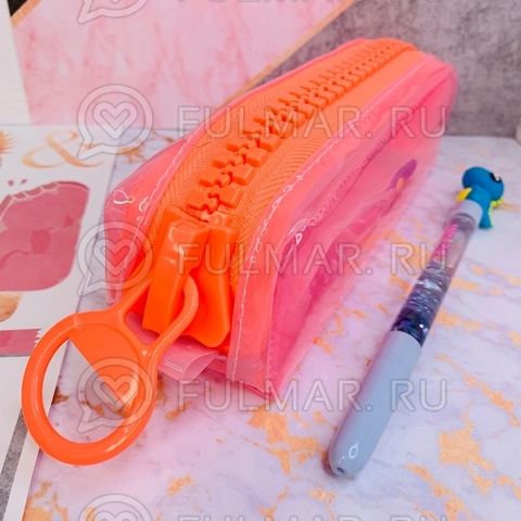 Неоновый прозрачный пенал на молнии-гигант Розовый-Оранжевый школьный для девочки