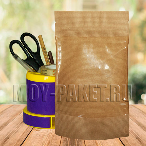 Крафт пакет дой-пак с замком зип-лок  и большим окошком 135x225 мм