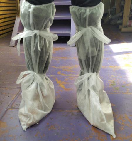 Бахилы высокие одноразовые защитные на завязках Спанбонд, плотность 25, 40, 60 гр/м2