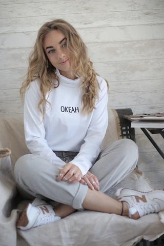 Водолазка белая с надписью ОКЕАН