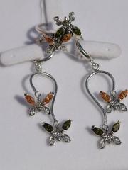 Бабочки (кольцо + серьги из серебра)
