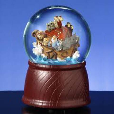 Стеклянный шар с блестками Ноев Ковчег