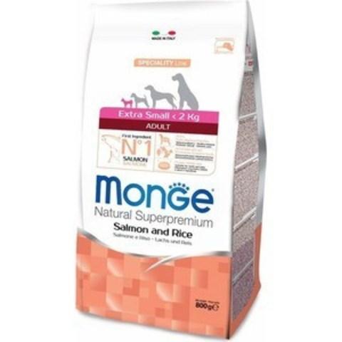 Monge Dog Extra Small корм для взрослых собак миниатюрных пород (лосось с рисом) 800г
