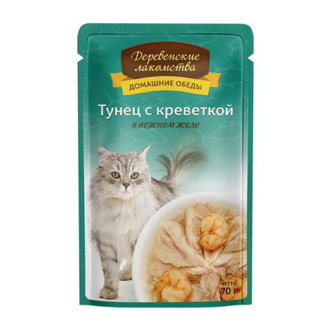 Деревенские лакомства Консервы для кошек с тунцом и креветкой в нежном желе (пауч)