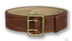 Ремень офицерский кожаный, коричневый, поясной с анодированной пряжкой (h=50мм)