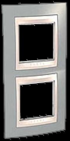 Рамка на 2 поста. Цвет вертикальная Серый/Белый. Schneider electric Unica Хамелеон. MGU6.004V.865